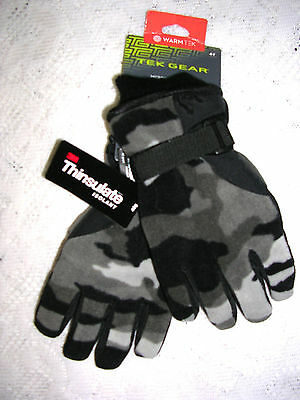 Tek Gear Youth Greys & Black Camouflage Microfleece Gloves Size  4 - 7   Nwt