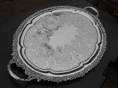 Ornate Large 27inch+ Serving Tray - Antique - Chrome Plated