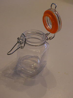 Mason Jar Spice 2.5 oz  Clear Glass Canning Hinged Square Orange Silicone New