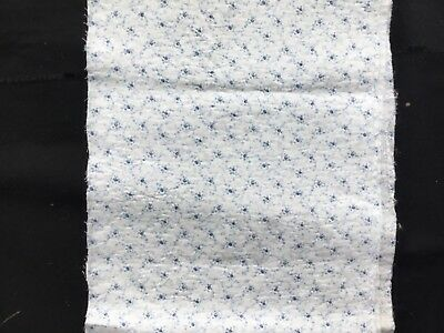 Antique Georgian/Victorian sprigged cotton fragment - used - blue