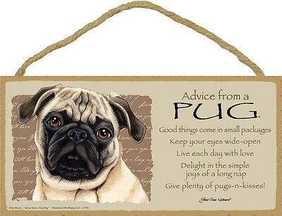 ADVICE FROM A PUG wood SIGN wall hanging NOVELTY PLAQUE tan brown puppy dog NEW