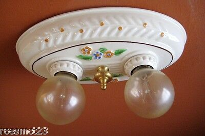 Vintage Lighting antique 1930s Porcelier porcelain light   Bath Kitchen Bedroom