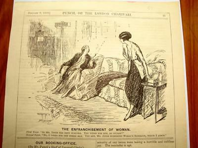 SUPERB ANTIQUE ORIGINAL PERIOD EARLY 1900`s POLITICAL SUFFRAGETTE CARTOON # 32