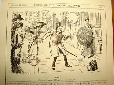 SUPERB ANTIQUE ORIGINAL PERIOD EARLY 1900`s POLITICAL SUFFRAGETTE CARTOON # 28
