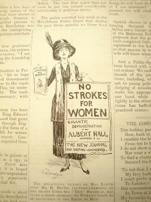 SUPERB ANTIQUE ORIGINAL PERIOD EARLY 1900`s POLITICAL SUFFRAGETTE CARTOON # 18