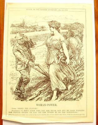 SUPERB ANTIQUE ORIGINAL PERIOD EARLY 1900`s POLITICAL SUFFRAGETTE CARTOON # 16