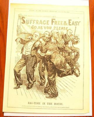 SUPERB ANTIQUE ORIGINAL PERIOD EARLY 1900`s POLITICAL SUFFRAGETTE CARTOON # 14