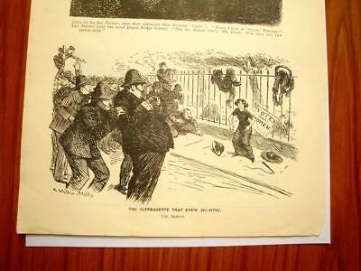 SUPERB ANTIQUE ORIGINAL PERIOD EARLY 1900`s POLITICAL SUFFRAGETTE CARTOON #6