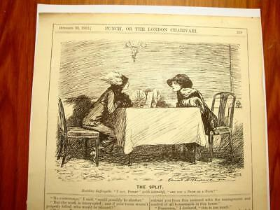 SUPERB ANTIQUE ORIGINAL PERIOD EARLY 1900`s POLITICAL SUFFRAGETTE CARTOON #4
