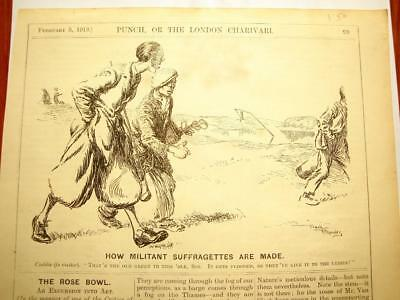 SUPERB ANTIQUE ORIGINAL PERIOD EARLY 1900`s POLITICAL SUFFRAGETTE CARTOON #2