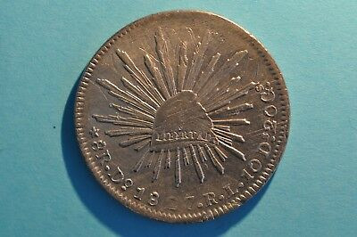 Mexico Silver 8 reales 1827 Do RL  Adjustments marks and scratches