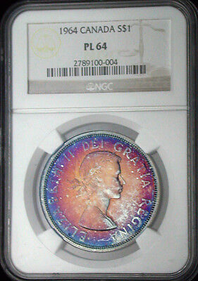 1964 Canada NGC PL64 Colorful Toned Proof-Like Dollar (hb1265)