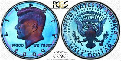 Special 2009 s PCGS PR69DCAM Colorful Toned Proof Kennedy Half Dollar (dg1156)