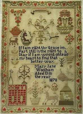 Late 19Th Century Red Church, Motif & Verse Sampler By Mary Jane Woolham - 1878