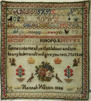 Late 19Th Century Motif, Alphabet & Quotation Sampler By Hannah Watson - 1886