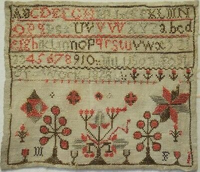 Small Early 19Th Century Motif & Alphabet Sampler By Millison Foster - 1828