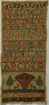 EARLY/MID 19TH CENTURY ALPHABET & MOTIF SAMPLER BY CHRISTINA ANDERSON - c.1840