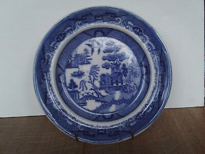 Antique Victorian Blue & white Willow pattern plate James Wileman 1864