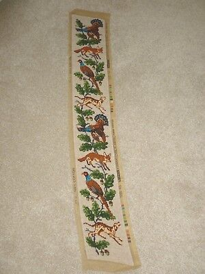 FAB!  Long Bell Pull hand-stitched completed wool tapestry country animals/birds