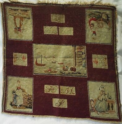 MID 19TH CENTURY NEEDLEPOINT OF SHIPS & FIGURES INITIALLED HMS/*WS - c.1870