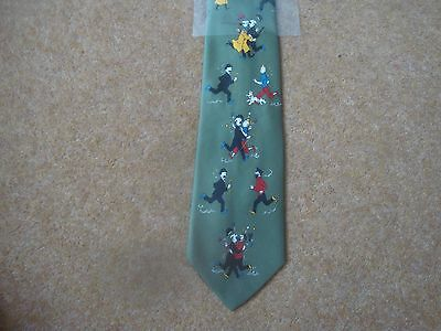 Tintin Tie - Tintin and Friends Running - Green - New - rf06