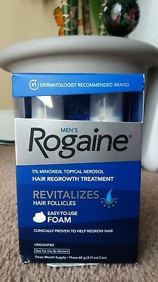 Men's Rogaine 5% Minoxidil Hair Regrowth Treatment Foam, 2 x 2.11 oz Cans