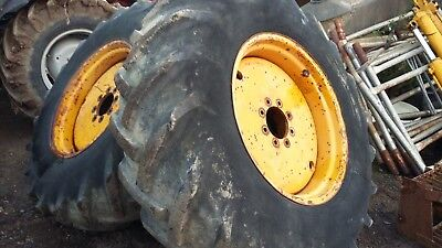 A Pair of  Massey Ferguson 50B Rear Wheels and Tyres 16-9-14-28