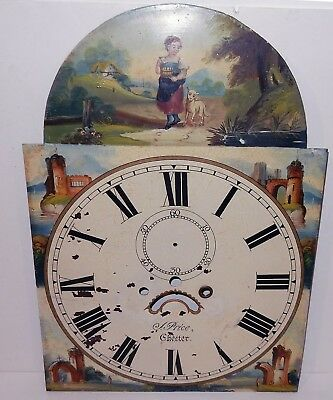 Antique Early Victorian Charming Hand Painted Grandfather Clock Face