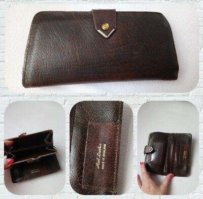 Beautiful real leather vintage 1950s 1960s brown purse wallet