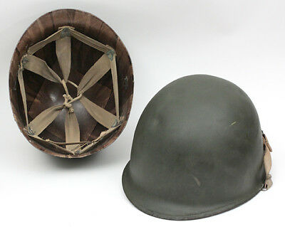 WWII US Front Seam M1 Helmet w Strap & Westinghouse Liner