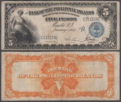 1933 Bank of the Philippine Islands 5 Pesos