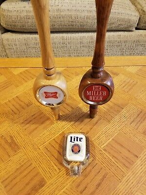 Lot of 3 Vintage Miller High Life Beer Taps - Two Wood, One Lucite