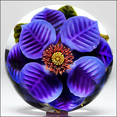 Steven Lundberg Studio Lampwork Art Glass Big Purple Flower Paperweight