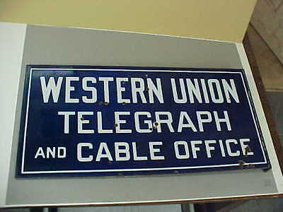 Vintage Porcelain  Western Union Telegraph And Cable Office Flange Sign