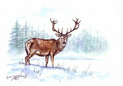 Winter Stag - Original watercolour painting.