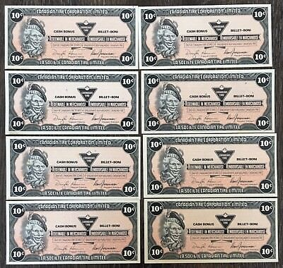 Lot of 8x 1987 Canadian Tire 10 Cents Notes ***Crisp Uncirculated*** CTC-S9-C-BX