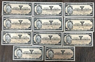 Lot of 11x 1985 Canadian Tire 50 Cents Notes ***Great Condition*** CTC-S8-E