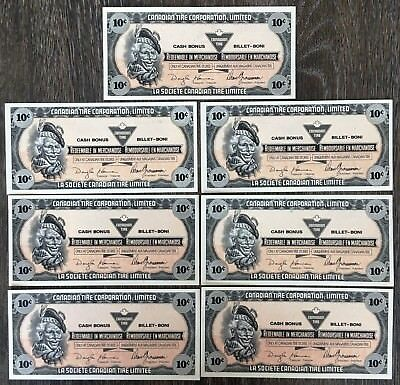 Lot of 7x 1989 Canadian Tire 10 Cents Notes ***Crisp Uncirculated*** CTC-S11-C-E