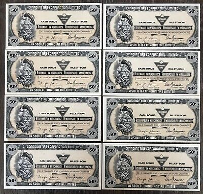 Lot of 8x 1989 Canadian Tire 50 Cents Notes ***Crisp Uncirculated*** CTC-S11-E