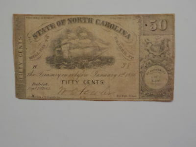 Civil War Confederate 1862 50 Cents Note Raleigh North Carolina Paper Money VTG