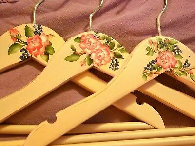 "#A4-Set of 3-KIDS-Handpainted-Decorated 11"" Wood-Bar-Hangers-Vintage-Style-Roses"