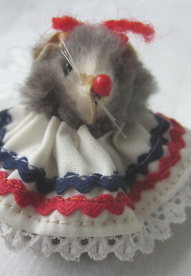 Vintage Original Fur Animal Made in W.Germany Red White and Blue Dress Ms Mouse