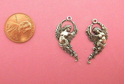 Antique Silver Plated Brass Flying Angel Pair - 2 Pcs