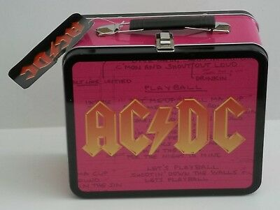 """NEW AC DC Heavy Metal Rock Band Lunch Box Collectors Tin 3.75"""" x 7"""" x 8"""""""