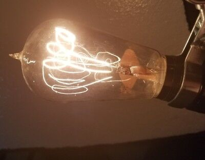 Antique Edison Norton American Electric Label Balloon Tipped Light Bulb WORKING