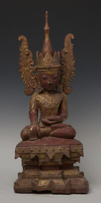 16th Century, Ava, Antique Burmese Wooden Seated Crowned Buddha