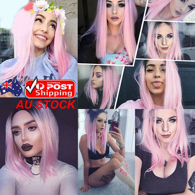 Women Bob Ombre Pink Short Wig Cosplay Synthetic Straight Cap Free Full Wig 20''