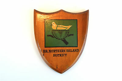 Vintage H.Q. Northern Ireland District armorial crest shield wall plaque wooden