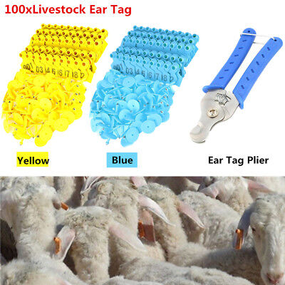 Animal Sheep Livestock Ear Tags Lables Marking Plier Applicator 001-100 Set NEW