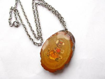 Vintage 1950's Laminated Wood Wooden Tree Bark Mouse Mice Pendant Necklace